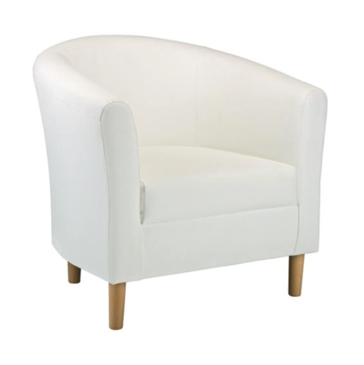 White Leather Tub Chair Gem Exhibitions
